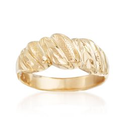 C. 1990 Vintage 14kt Yellow Gold Ribbed Ring, , default