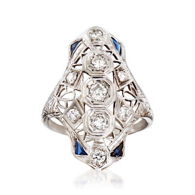 C. 1950 Vintage .55 ct. t.w. Diamond Openwork Ring with Synthetic Sapphire Accents in 18kt White Gold