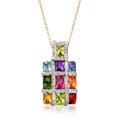 C. 1990 Vintage 4.65 ct. t.w. Multi-Gemstone and .45 ct. t.w. Diamond Checkerboard Pendant Necklace in 18kt Two-Tone Gold, , default