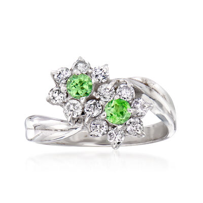 C. 1990 Vintage .60 ct. t.w. Diamond and .30 ct. t.w. Chrome Diopside Flower Bypass Ring in 18kt White Gold