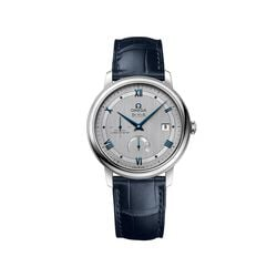 Omega De Ville Prestige Men's 39.5mm Stainless Steel Watch With Blue Leather Strap and Silver Dial, , default