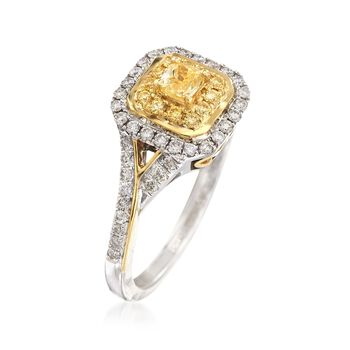 Gregg Ruth .68 Carat Total Weight Yellow and White Diamond Ring in 18-Karat Two-Tone Gold. Size 7, , default