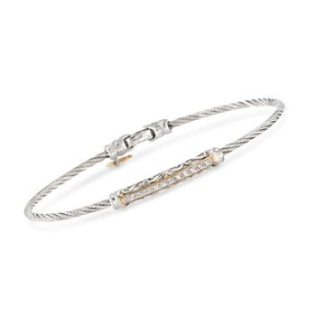 "ALOR Classique .10 Carat Total Weight Diamond Swirl Bar Bracelet With 18-Karat Yellow Gold in Stainless Steel. 7"", , default"