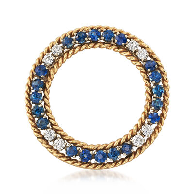 C. 1970 Vintage 2.40 ct. t.w. Sapphire and .55 ct. t.w. Diamond Pin in 14kt Yellow Gold , , default