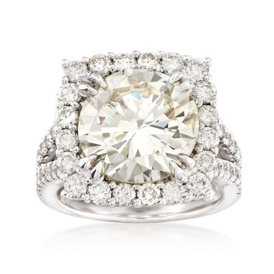 Majestic Collection 8.46 ct. t.w. Diamond Halo Ring in 18kt White Gold, , default
