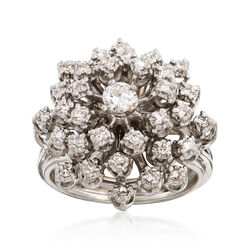 C. 1970 Vintage .60 ct. t.w. Diamond Cluster Ring in 14kt White Gold, , default