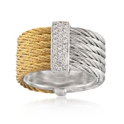 "ALOR ""Classique"" .23 ct. t.w. Diamond Two-Tone Stainless Steel Cable Ring with 18kt White Gold, , default"