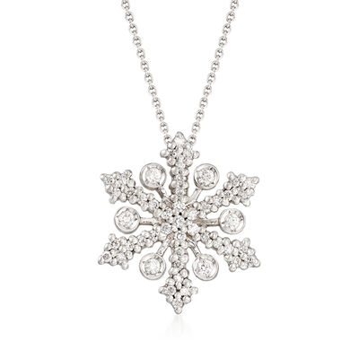 "Roberto Coin ""Tiny Treasures"" .32 ct. t.w. Diamond Snowflake Necklace in 18kt White Gold"