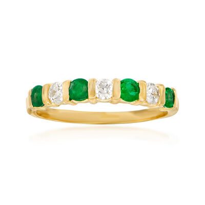C. 1980 Vintage .25 ct. t.w. Emerald and .20 ct. t.w. Diamond Ring in 14kt Yellow Gold, , default