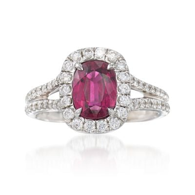C. 2000 Vintage 1.84 Carat Ruby and .52 ct. t.w. Diamond Ring in 18kt White Gold, , default