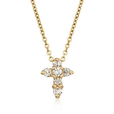 Roberto Coin .11 ct. t.w. Diamond Cross Necklace in 18kt Yellow Gold    , , default
