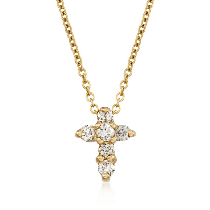 Roberto Coin .11 ct. t.w. Diamond Cross Necklace in 18kt Yellow Gold