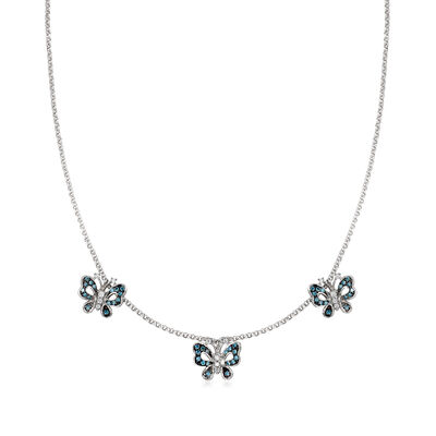 C. 2000 Vintage .90 ct. t.w. Blue and White Diamond Butterfly Necklace in 14kt White Gold
