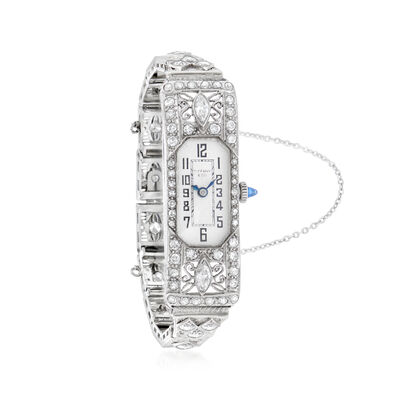 C. 1940 Vintage Tiffany Jewelry Women's 3.15 ct. t.w. Diamond and .15 Carat Synthetic Sapphire 14mm Watch in 14kt White Gold, , default