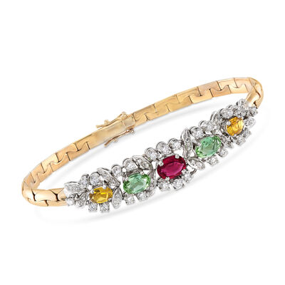 C. 1980 Vintage 3.15 ct. t.w. Multicolored Tourmaline and 1.25 ct. t.w. Diamond Bracelet in 18kt Yellow Gold, , default