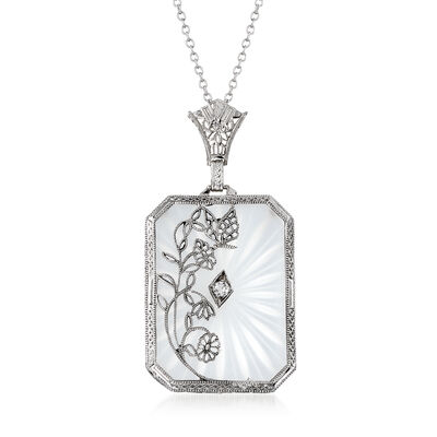 C. 1950 Rock Crystal Floral Pendant Necklace in 14kt White Gold, , default