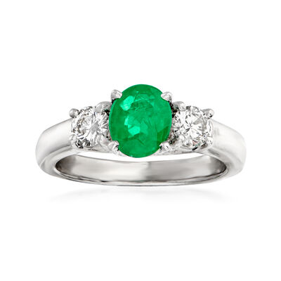 C. 1990 Vintage 1.00 Carat Emerald and .50 ct. t.w. Diamond Ring in Platinum