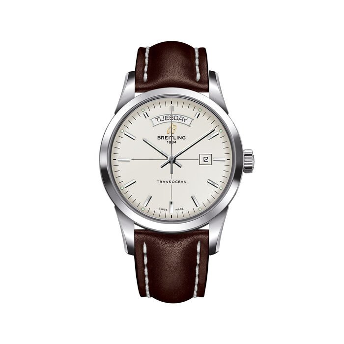 Breitling Transocean Day-Date Men's 43mm Stainless Steel Watch - Brown Leather Strap