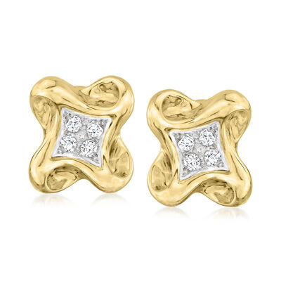 C. 1990 Vintage .40 ct. t.w. Diamond Swirl Clip-On Earrings in Platinum and 18kt Yellow Gold