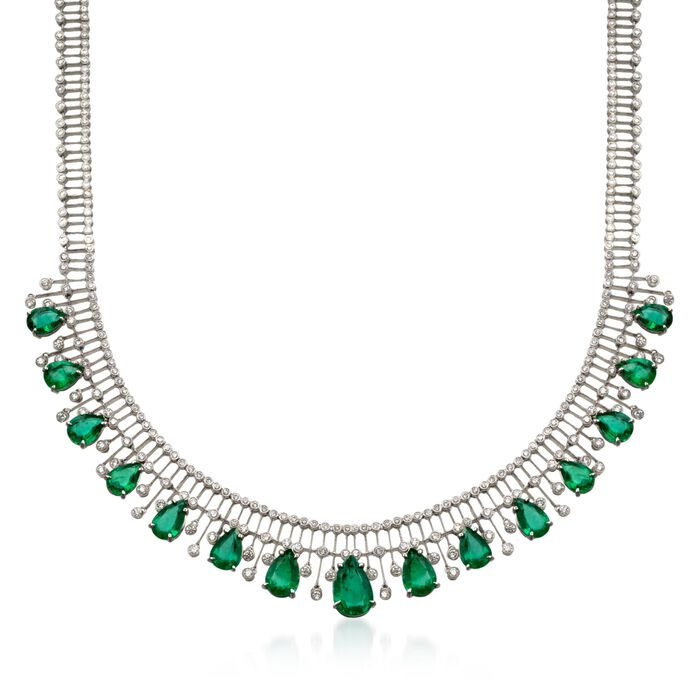 """C. 1980 Vintage 20.50 ct. t.w. Emerald and 6.25 ct. t.w. Diamond Necklace in 18kt White Gold. 15"""""""
