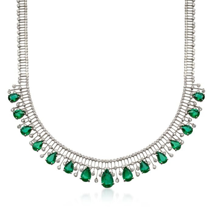 "C. 1980 Vintage 20.50 ct. t.w. Emerald and 6.25 ct. t.w. Diamond Necklace in 18kt White Gold. 15"", , default"