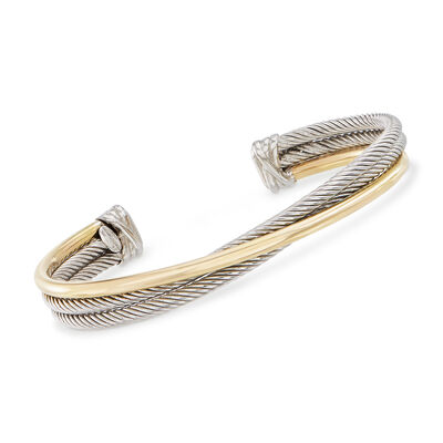 "Phillip Gavriel ""Italian Cable"" Sterling Silver and 18kt Yellow Gold Cuff Bracelet"
