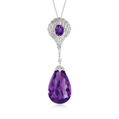 C. 2000 Vintage 36.50 ct. t.w. Amethyst and .55 ct. t.w. Diamond Fan Drop Necklace in 14kt White Gold
