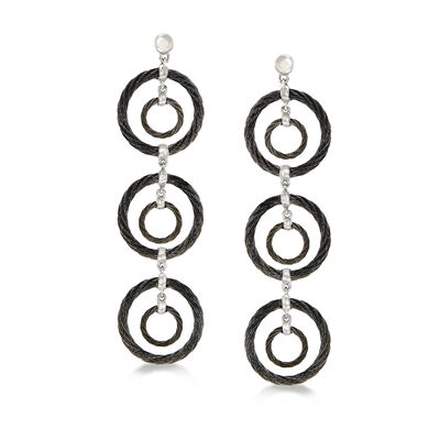 "ALOR ""Noir"" Black Stainless Steel Cable Multi-Circle Drop Earrings with 18kt White Gold"