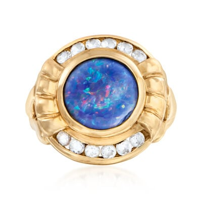 C. 1990 Vintage Synthetic Opal and .50 ct. t.w. CZ Ring in 10kt Yellow Gold