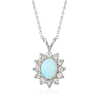 C. 1980 Vintage 10.5x8.5mm Opal and 1.50 ct. t.w. Diamond Pendant Necklace in 14kt White Gold, , default