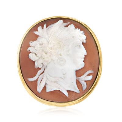 C. 1960 Vintage Pink Shell Cameo Ring in 18kt Yellow Gold