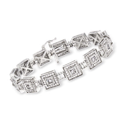 C. 1980 Vintage 6.80 ct. t.w. Diamond Square-Link Bracelet in 14kt White Gold