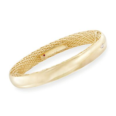 Roberto Coin Golden Gate Bangle Bracelet with Diamond Accent in 18kt Yellow Gold, , default