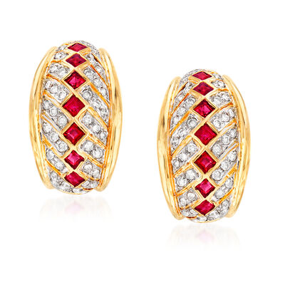 C. 1990 Vintage 1.15 Ruby and 1.05 ct. t.w. Diamond Earrings in 18kt Yellow Gold, , default