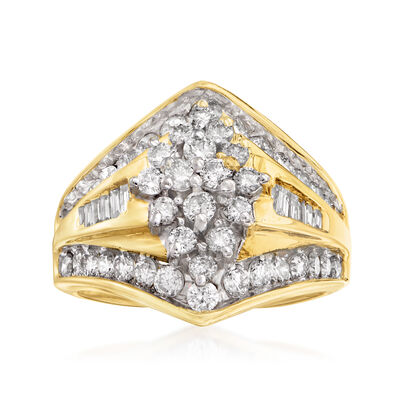 C. 1980 Vintage 2.00 ct. t.w. Diamond Cluster Ring in 14kt Yellow Gold