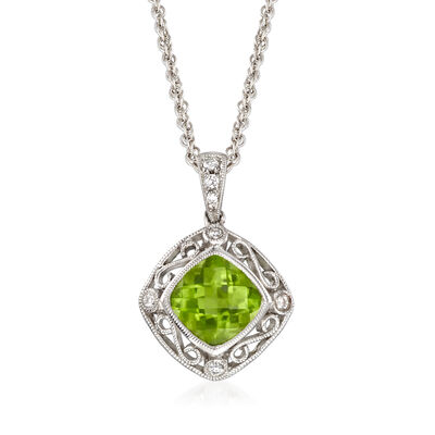 C. 1990 Vintage 1.70 ct. t.w. Peridot Pendant Necklace with Diamond Accents in 14kt White Gold, , default