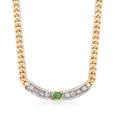 C. 1990 Vintage .15 ct. t.w. Emerald and .25 ct. t.w. Diamond Cable-Link Necklace in 14kt Yellow Gold, , default