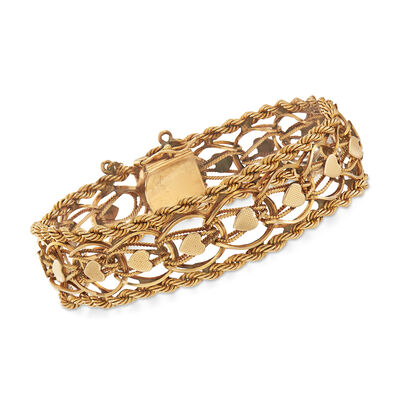 C. 1960 Vintage Rope Heart Link Bracelet in 14kt Yellow Gold, , default