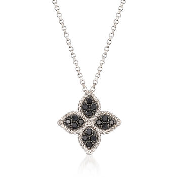 "Roberto Coin ""Princess Flower"" .38 ct. t.w. Black and White Diamond Flower Pendant Necklace in 18kt White Gold. 18"", , default"