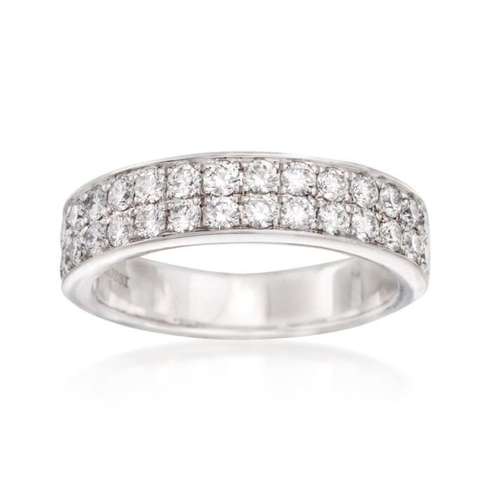 Henri Daussi Double Row .95 ct. t.w. Diamond Wedding Band in 14kt White Gold