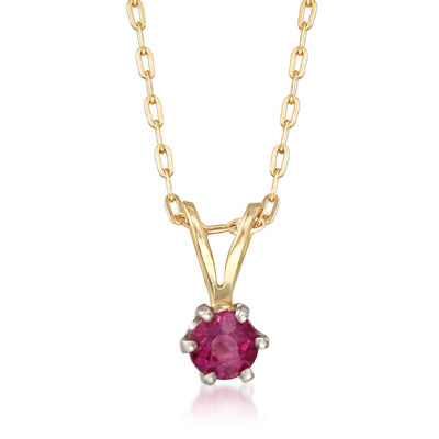 C. 1970 Vintage .35 Carat Ruby Pendant Necklace in 14kt Two-Tone Gold, , default