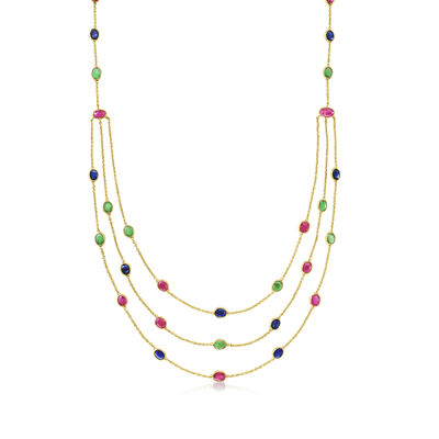 C. 1990 Vintage 5.50 ct. t.w. Ruby, 4.50 ct. t.w. Sapphire and 3.15 ct. t.w. Emerald Station Necklace in 18kt Yellow Gold