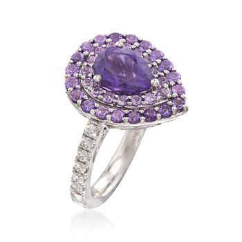 Gregg Ruth 1.60 ct. t.w. Amethyst and .26 ct. t.w. Diamond Ring in 18kt White Gold