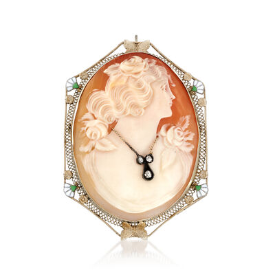 C. 1950 Vintage Pink Shell Cameo Pin Pendant with Diamond Accent in 14kt White Gold, , default
