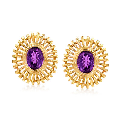 C. 1970 Vintage 4.20 ct. t.w. Amethyst Fluted Clip-On Earrings in 14kt Yellow Gold