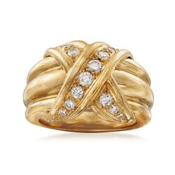 "C. 1990 Vintage Tiffany Jewelry ""Schlumberger"" .45 ct. t.w. Diamond X Ring in 18kt Yellow Gold, , default"