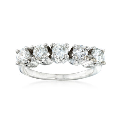 C. 1980 Vintage 1.25 ct. t.w. Diamond Five-Stone Ring in 14kt White Gold, , default