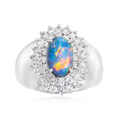 C. 1980 Vintage Opal and .93 ct. t.w. Diamond Ring in Platinum