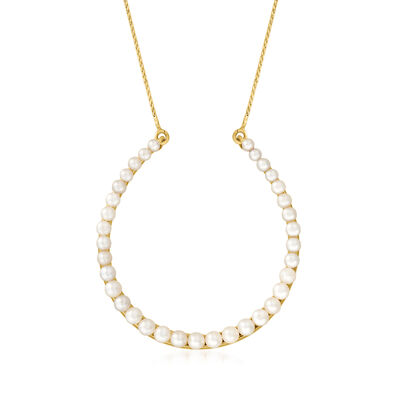 C. 1980 Vintage 2.5x2mm-3.5x3mm Oval Cultured Pearl Horseshoe Necklace in 14kt Yellow Gold