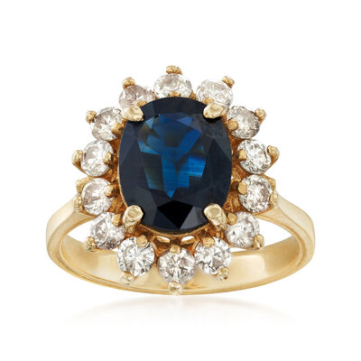 C. 1980 Vintage 2.55 Carat Sapphire and 1.00 ct. t.w. Diamond Ring in 14kt Yellow Gold, , default